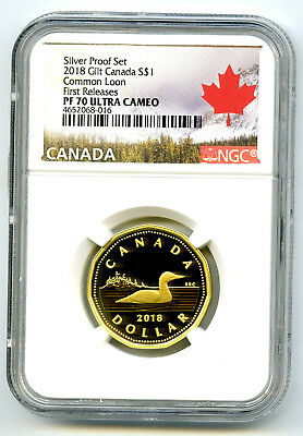 2018 Canada Silver Proof Loonie Dollar Ngc Pf70 Ucam Gilt Loon First Releases