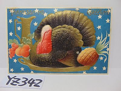 Vintage Postcard 1900's Thanksgiving-Turkey Greetings Raised 3D Made In Germany