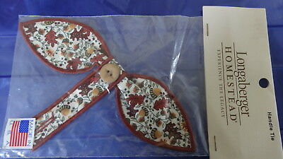 Longaberger Homestead Fall Leaves and Acorns Small Bow Button Handle Tie - NEW