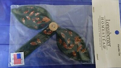 Longaberger Homestead Ivy Homespun Fall Leaves Small Bow Button Handle Tie - NEW