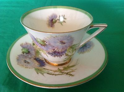 Bone China Cup & Saucer By Royal Doulton Glamis Whistle Hand Painted Signed