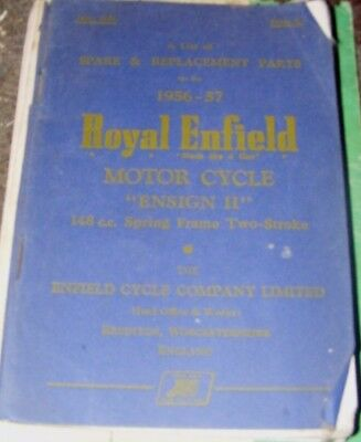 ROYAL ENFIELD 148cc  ENSIGN II SPARE & REPLACEMENT PARTS MANUAL   1956-57
