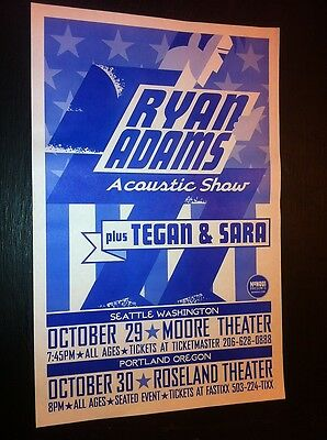 Ryan Adams Cardinals Tegan and Sara Acoustic Rare Original Concert Tour Poster