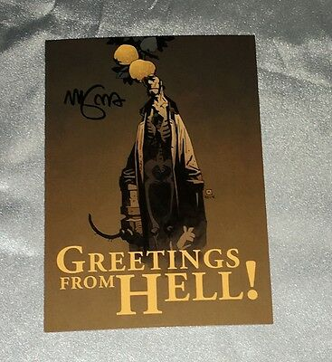Hellboy~Greetings From Hell~Hellboy In Hell Post Card~Signed By Mike Mignola~~
