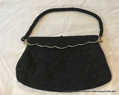 Chic Vintage 50's 60's Black Beaded Evening Bag Gold Tone Metal Frame Flap Close