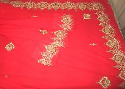 Antique Vintage Sari Saree EMBROIDERED OLD RARE 4Y  Z18 Red Beads Zari #ABGNL