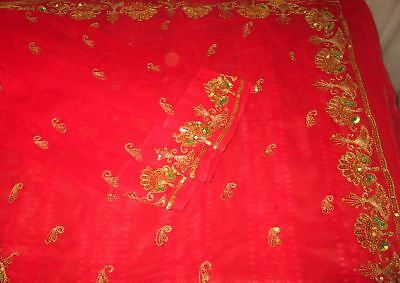 Antique Vintage Sari Saree EMBROIDERED OLD RARE 4Y  Z18 Red Sequins Zari #ABGNN