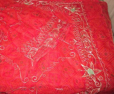Antique Vintage Sari Saree EMBROIDERED OLD RARE 4Y  Z18 Red Sequins Zari #ABGNX