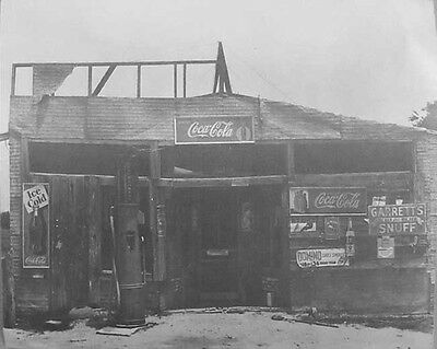 """Vintage Photo of Old Gas Station with Coca Cola Signs - 11 X 14"""""""