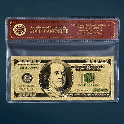 24K Gold Plated $100 Dollar Gold Bill Old Version Banknote W/coa #pouch