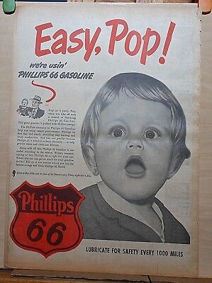 Full page 1951 newspaper ad for Phillips 66 Gas - Easy Pop we're usin' Phillips