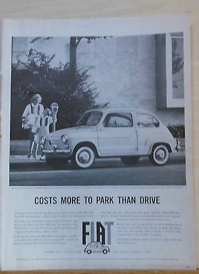 1960 magazine ad for Fiat - Costs more to park than drive, Fiat 600 photo