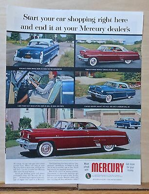 1953 magazine ad for Mercury - Start your car shopping at Mercury, colorful