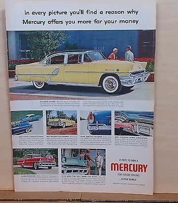1955 magazine ad for Mercury - yellow Montclair, future styling - super power