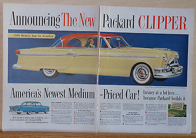 Vintage two page 1954 magazine ad for Packard - Clipper Panama hardtop, Sporty