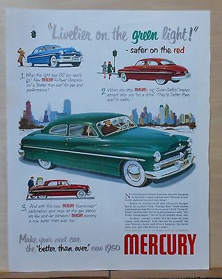 1950 magazine ad for Mercury - Livelier on the green light, safer on the red