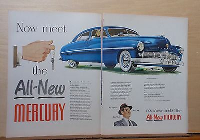 1948 two page magazine ad for Mercury - blue 1949 model, Now Meet the All-New
