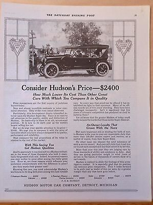 Vintage 1921 magazine ad for Hudson - Consider Hudson's Price, compare quality