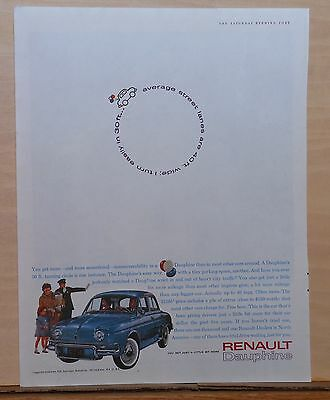 1961 magazine ad for Renault - blue Dauphine, Turns easily in 30 ft. width lanes