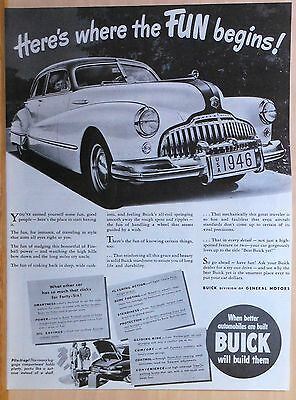 Vintage 1946 magazine ad for Buick - Here's Where the Fun Begins! Buick for '46