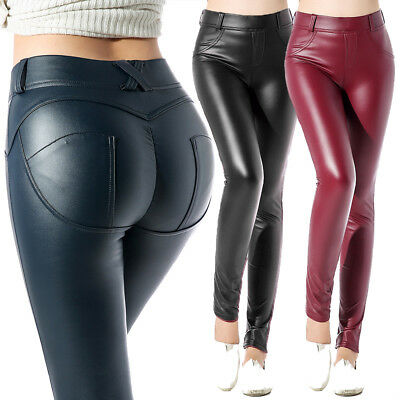 Womens Casual Faux Leather Jeans Trousers Stretchy Slim Leggings Denim Pants US