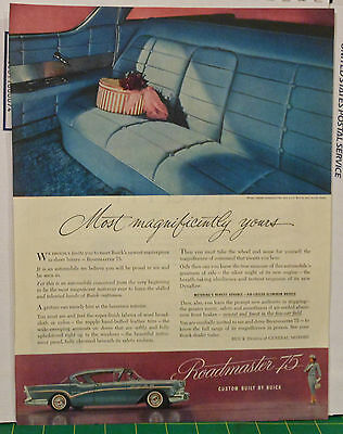 Vintage 1950's magazine ad for Buick - color photos of upholstery, blue Buick