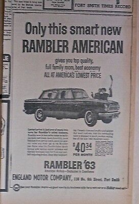 1963 newspaper ad for Rambler - American, Smart, top quality, full family room