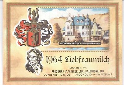 1964 Liebfraumilch-Frederick P.winner-Balt.md.-Wine Label-4 1/4 By 4 1/4 Nches
