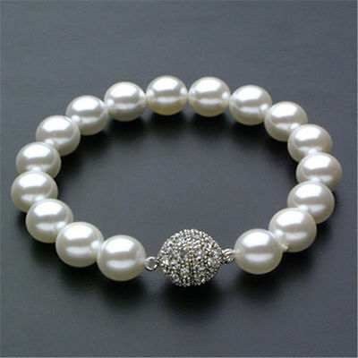 "10mm Ivory White Pearl Bracelet Magnetic Clasp 7 1/2"" Bridal Wedding"