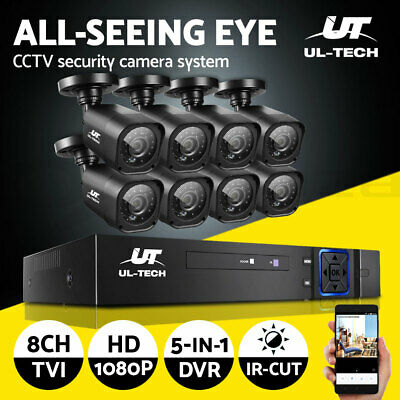 UL-tech CCTV Camera Security System 8CH DVR 1080P Cameras Outdoor 2MP IP Kit