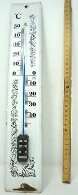 Thermometer Emaille Email voll funktionsfähig 40x7cm ALT Aussenthermometer