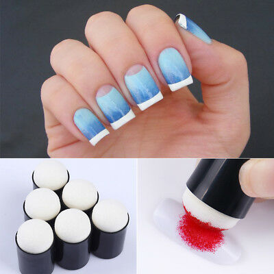 3/5/10Pcs Gradient Blooming Pen Reusable Dotting Brush Sponge Head Nail Art Tool