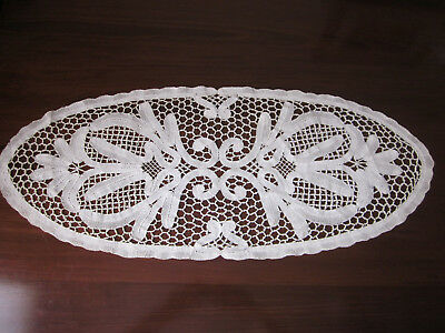Beautiful Vintage Cream Bobbin Tape Lace Table Runner