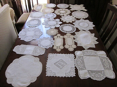 24 Vintage Hand Worked Crochet Lace Doilies With Linen Centres