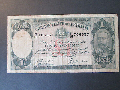 1933 One Pound Bank Note Riddle/Sheehan