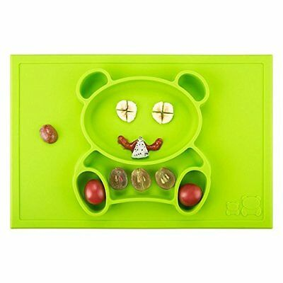 Comz Food-Safe & FDA Approved Silicone Cute Bear Place Mat (Green) Featuring Cut