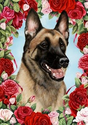 Large Indoor/Outdoor Roses Flag - Belgian Malinois 19251