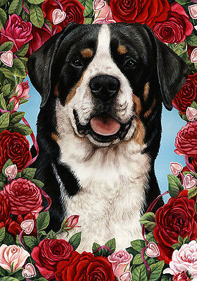 Large Indoor/Outdoor Roses Flag - Greater Swiss Mountain Dog 19144