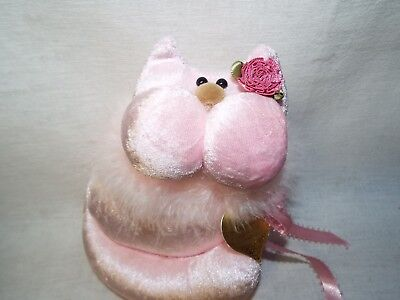 """Pink Plush """"Snickerdoodle"""" Cat Handmade Soft Velour w/ Feather Boa Original Tag"""