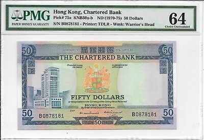 The Chartered Bank - $50, nd (1970-75). Fancy S/No.B0878181. PMG 64. RARE.