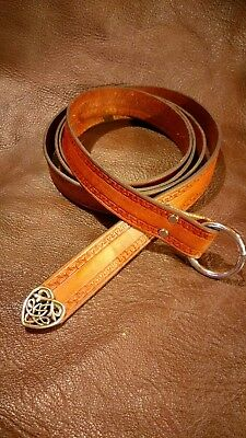 Brown Leather Belt With Border Design And Fancy Tip - Thats Right -Fancy - Sca