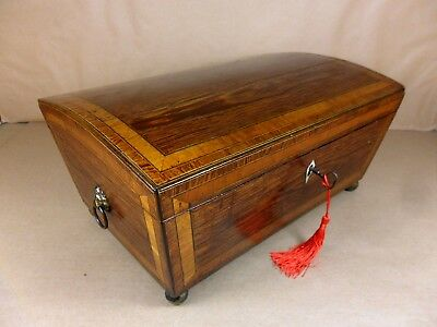 ANTIQUE GEORGE III KINGWOOD DOME TOP JEWELLERY/SEWING/COLLECTORS  BOX.C1790(c463
