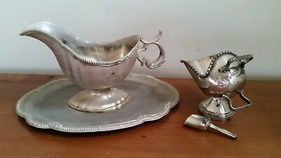 Silver Plated Sauce / Gravy Boat With Plate /Tray / Saucer & Salt Cellar & Spade