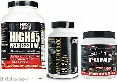 Kit Masse Protein 90 gr 3000 CACAO + Amino BCAA 500 cpr + Pre Workout 1 kg
