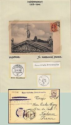 Lithuania 1922 post card Ukmerge to Narbonne France . kn898