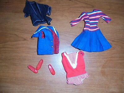 Vintage Pair Of Red Slip On Shoes For Skipper Barbies Sister Doll