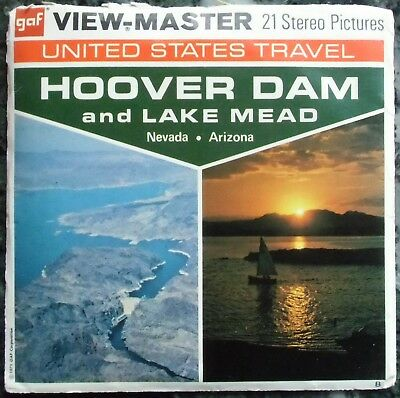 3 View-Master 3D Bildscheiben - Us Travel | Hoover Dam And Lake Mead + Booklet