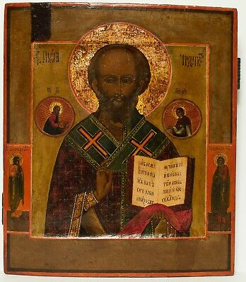 Old Antique Russian Icon of Saint Nicholas, 19th c