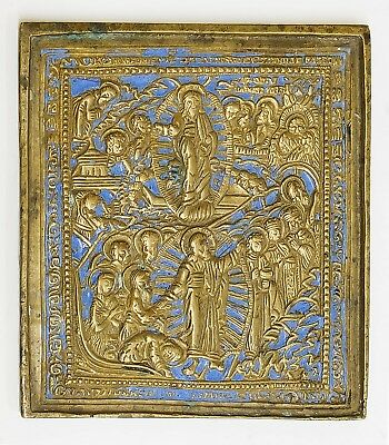 Old Antique Russian Bronze Icon of Resurrection, 19th century