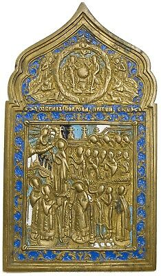 Old Antique Russian Bronze Icon of Pokrov Mother of God, 19th century
